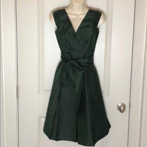 Elie Tahari 100% silk dark green cocktail dress